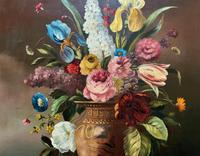 Striking Early 1900s Antique Large Floral Display Oil on Canvas Painting (5 of 12)