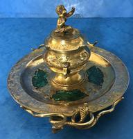 Victorian Gilt Brass Malachite Stationary Desk Set (2 of 17)