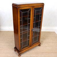 Oak Leaded Glass Bookcase (9 of 15)