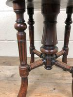 Antique Victorian Walnut Piano Stool with Adjustable Height (8 of 11)