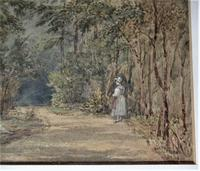 Mary Smirke - Girls on a Woodland Path, Watercolour, Framed (3 of 8)