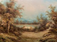 Large Fabulous 20th Century Vintage British Autumn Country Landscape Oil Painting (3 of 12)
