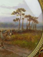 Antique Oil on Board Original Painting by G Meville - Horse & Carriage c.1880 (3 of 12)