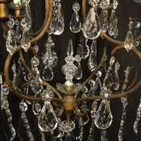 French Gilded Crystal Birdcage 5 Light Antique Chandelier (7 of 10)