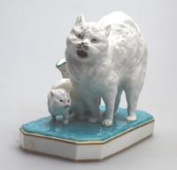 Highly Unusual Novelty Frightened Cat Porcelain Striker / Match Holder 19th Century (3 of 13)