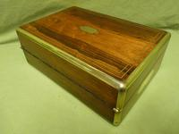 Quality Fully Brass Bound Rosewood Writing Box. Many Features. C1875 (14 of 16)