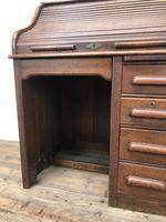 Antique Early 20th Century Oak Roll Top Desk (9 of 13)