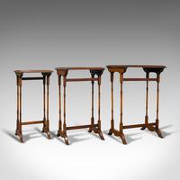 Antique Trio of Nest Tables, English, Walnut, Mahogany, Nesting, Side, Edwardian (6 of 12)