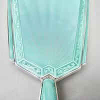 Fabulous Art Deco Silver & Guilloche Enamel Hand Mirror by Charles Green, Birmingham 1936 (9 of 9)