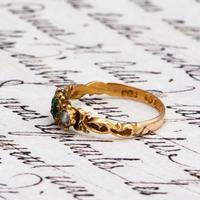 The Antique 1868 Victorian 15ct Gold Emerald and Pearl Ring (2 of 5)