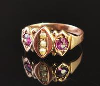 Antique Victorian Amethyst and Pearl Ring, 9ct Rose Gold (3 of 10)