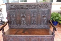 Country Oak Carved Settle Depicting Phoenix 1750 (3 of 13)