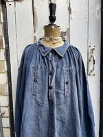 Antique French Faded Blue Linen Biaude Shirt Chemise Smock Size L (2 of 10)