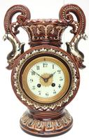 Amazing French 8 Day Majolica Mantle Clock Set Rare Pottery Mantle Clock Set (4 of 11)