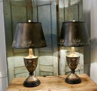 A Pair of Large Bronze Coloured Toleware Table Lamps (2 of 9)