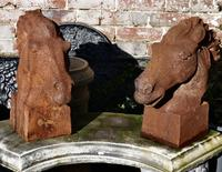 Pair of Large Outdoor Weathered Cast Iron Horse Heads (4 of 7)