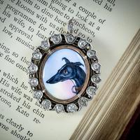 Antique Victorian Diamond Greyhound Locket Pendant Silver c.1870 (7 of 7)