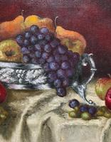 Fabulous 1960 Vintage Antique Still Life Of Fruit Study Oil On Canvas Painting (6 of 12)