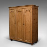 Antique Three Panel Wardrobe, English, Pine, Cupboard, Closet, Victorian c.1900 (4 of 10)