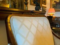 Exceptional Pair of Mahogany Inlaid Linen Silk Upholstered Bergere Armchairs (5 of 12)