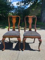 Pair of Antique Queen Anne Style Walnut Side Chairs c.1910 (2 of 7)