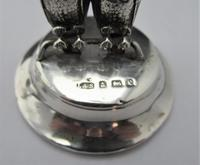 Edwardian, Novelty Silver Twin Owl Place Stands/ Menu Holders, Levi & Salaman, B'ham 1904 (7 of 8)