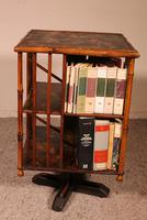 English Revolving Bookcase Early 20th Century in Bamboo & Asian Decor (4 of 10)