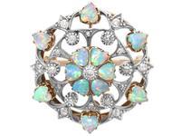 2.38ct Opal & 0.72ct Diamond, 12ct Yellow Gold Pendant / Brooch - Antique c.1880 (4 of 12)