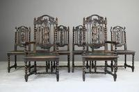 8 Victorian Jacobean Style Oak Dining Chairs (2 of 12)