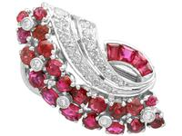 1.86ct Ruby & 0.55ct Diamond, 12ct White Gold Earrings c.1930 (3 of 9)