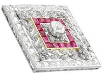 3.48ct Diamond & 0.53ct Ruby, Platinum Pendant / Brooch - Antique c.1900 (6 of 15)