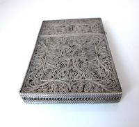 Fine Continental silver filigree card case c 1890 (6 of 12)