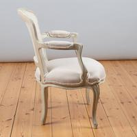 Pair of Large French Louis XV Style Painted Upholstered Armchairs (4 of 9)