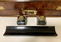 Victorian Burr Walnut Brass Bound Desktop Stationery Cabinet (9 of 15)