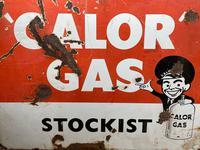 Vintage Original English 1950's Enamel Advertising Sign Calor Gas Stockist (13 of 22)