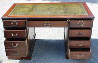 1960s Large Mahogany Pedestal Desk with Green Leather (2 of 6)