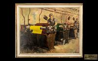 Edmund George Lycester Maude Roxby, Set of 3 Unique Industrial Oil Paintings (3 of 3)