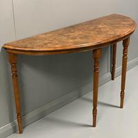19th Century Burr Walnut Demi lune Console Table (3 of 6)
