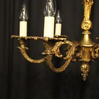 French 6 Light Gilded Bronze Early 20th Century Antique Chandelier (2 of 10)