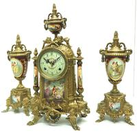 Vintage Sevres Mantel Clock Garniture 8 Day Striking Ormolu Mantel Clock (2 of 14)