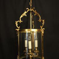 French Gilt Bronze Convex Antique Hall Lantern (2 of 10)