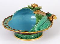 Minton Majolica Pottery Pedestal Chestnut Dish Dated 1867 (5 of 14)