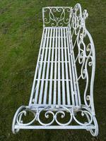 Large French Art Deco Style Fleur De Lis Garden Double Bowed  Curved Bench Seats 3 (28 of 37)