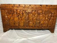 Large vintage Chinese tribal camphor wood carved chest coffee table (11 of 12)