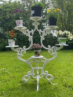 Victorian 19th Century Garden Cast Iron Painted White 6 Branch Plant Stand (2 of 47)