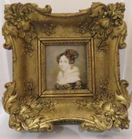 1820 Hand Painted Miniature Portrait Swept Gilt Frame