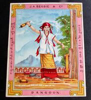 1920's Packaging Adverting Label  From Rangoon for J. A. Begbie & Co