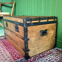 Antique French Steamer Trunk Coffee Table Old Rustic Chest and Key + Original Interior (6 of 12)