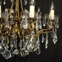Italian 10 Light Gilded & Crystal Chandelier (7 of 10)