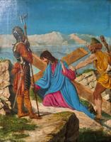 Lovely 19th Century Religious Old Master Christ & Cross Oil Painting - Set 14 Available (3 of 19)